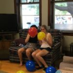 Blowing up balloons for Or Tzedek's 10th birthday party!