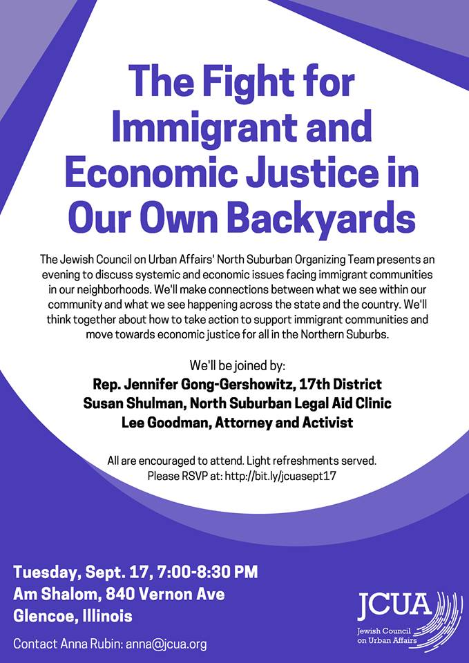The Fight for Immigrant and Economic Justice in Our Own Backyards @ Am Shalom